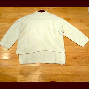 Sweaters - Cream angora hi-low mock turtleneck sweater